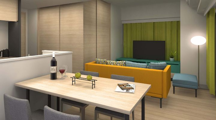 Oakwood Apartments Nishi-Shinjuku, Tokyo one-bedroom apartment's living and dining area