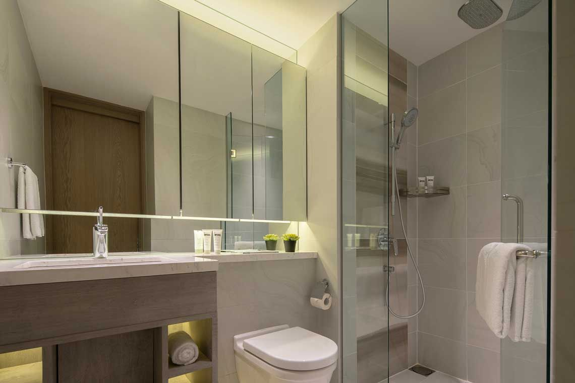 Oakwood Studios Singapore's studio apartment's bathroom