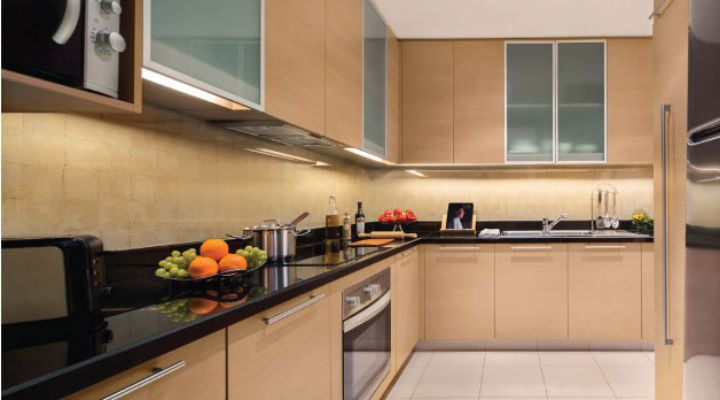 Oakwood Premier Cozmo Jakarta two-bedroom deluxe apartment's kitchen