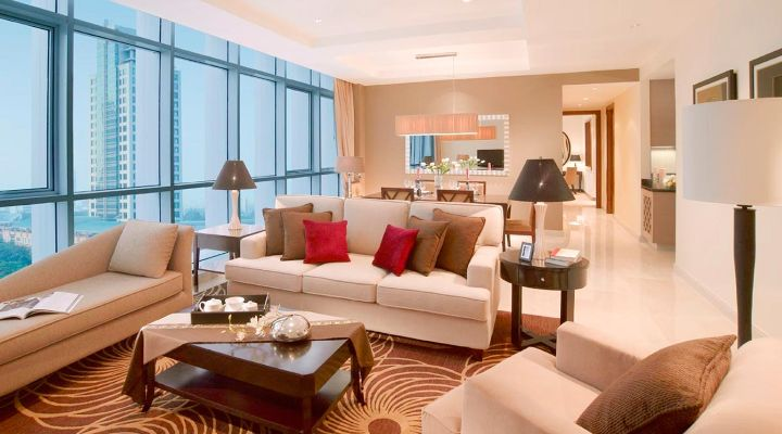 Oakwood Premier Cozmo Jakarta two-bedroom executive apartment's living room