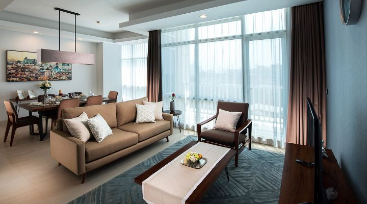Oakwood Suites La Maison Jakarta three-bedroom executive apartment's living room