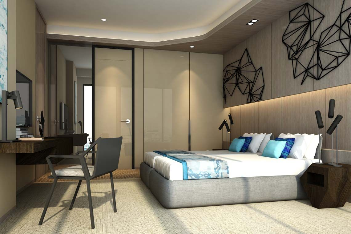 Oakwood Apartments Sanya's one-bedroom executive ocean apartment's bedroom