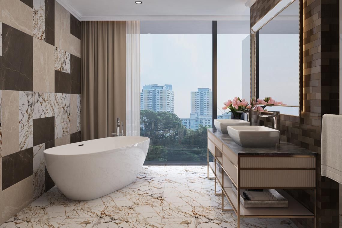 Oakwood Apartments Sanya's penthouse's master bathroom